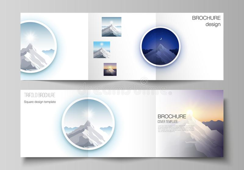 Minimal vector editable layout of square format covers design templates for trifold brochure, flyer, magazine. Mountain. Illustration, outdoor adventure. Travel royalty free illustration