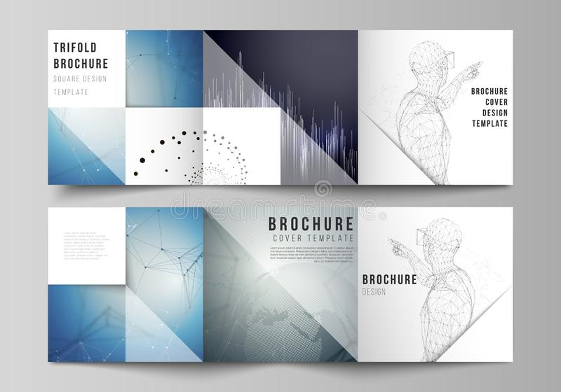The minimal vector editable layout of square format covers design templates for trifold brochure, flyer, magazine. Technology, science, future concept abstract royalty free illustration