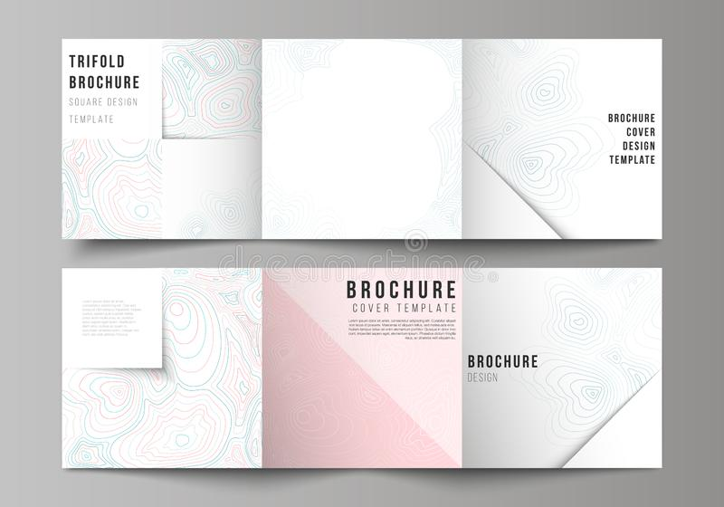The minimal vector editable layout of square format covers design templates for trifold brochure, flyer, magazine. Topographic contour map, abstract monochrome stock illustration