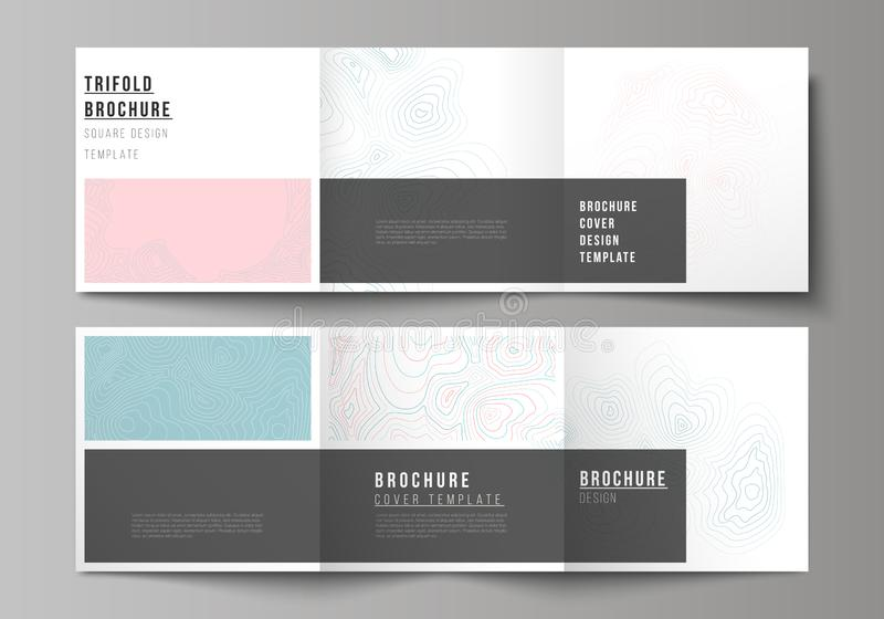The minimal vector editable layout of square format covers design templates for trifold brochure, flyer, magazine. Topographic contour map, abstract monochrome royalty free illustration