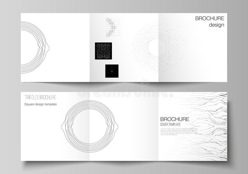 Minimal vector editable layout of square format covers design templates for trifold brochure, flyer, magazine. Trendy. Modern science or technology background stock illustration