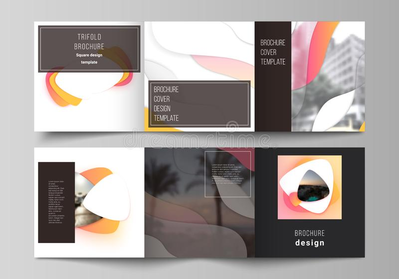 The minimal vector editable layout of square format covers design templates for trifold brochure, flyer, magazine. Yellow color gradient abstract dynamic vector illustration
