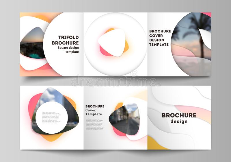 The minimal vector editable layout of square format covers design templates for trifold brochure, flyer, magazine. Yellow color gradient abstract dynamic stock illustration