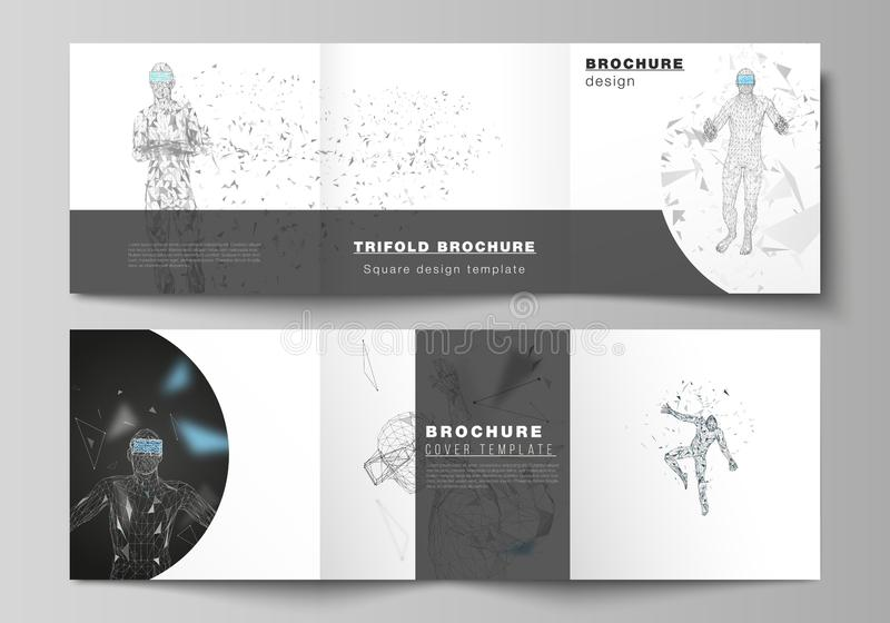 The minimal vector editable layout of two square format covers design template for trifold square brochure, flyer. The minimal vector editable layout of two royalty free illustration