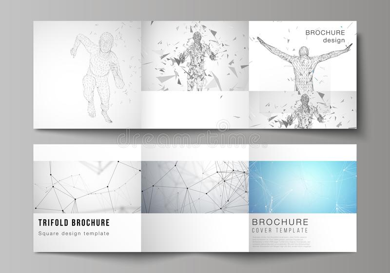 Minimal vector illustration of editable layout. Modern creative covers design templates for trifold square brochure or. Flyer. Artificial intelligence concept royalty free illustration