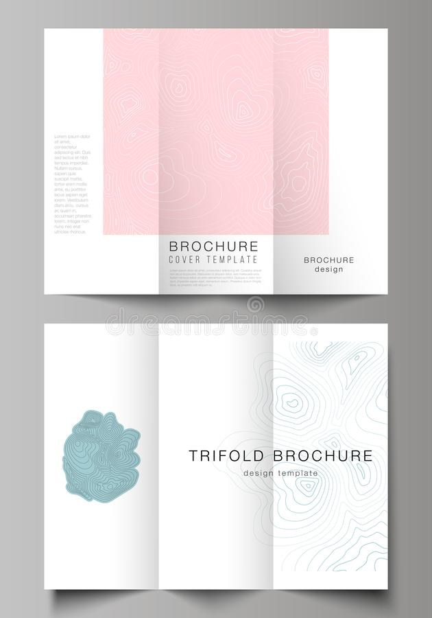 The minimal vector illustration of editable layouts. Modern creative covers design templates for trifold brochure or. Flyer. Topographic contour map, abstract vector illustration