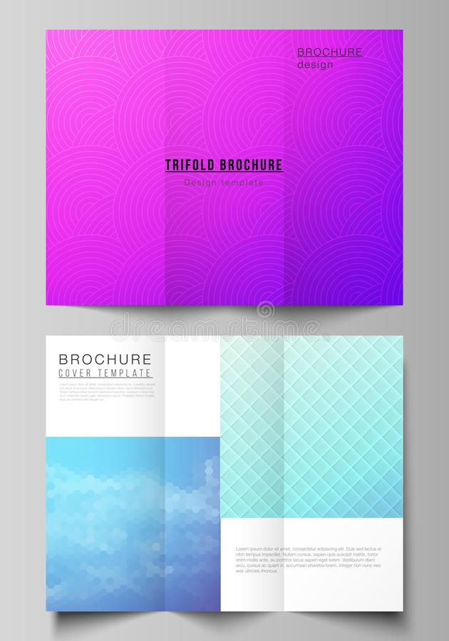 The minimal vector illustration of editable layouts. Modern creative covers design templates for trifold brochure or. Flyer. Abstract geometric pattern with stock illustration