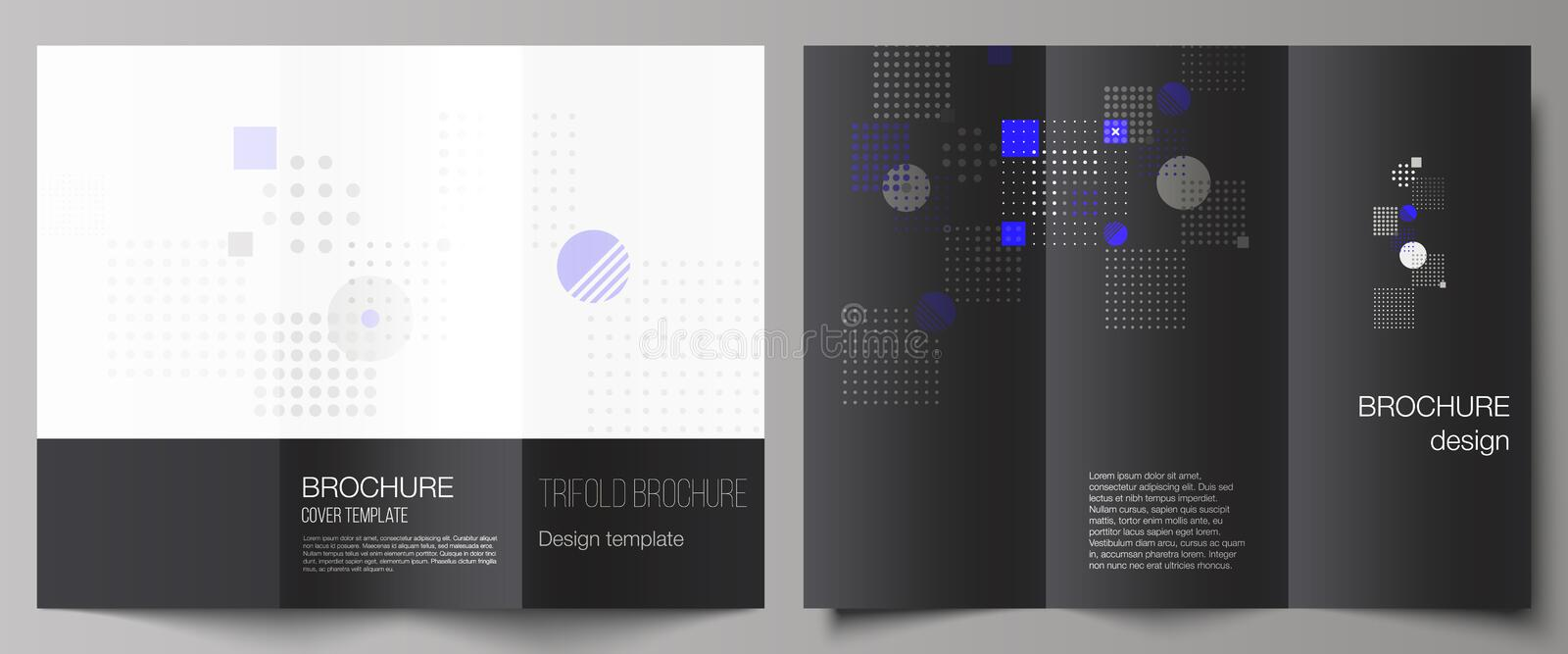 The minimal vector illustration of editable layouts. Modern creative covers design templates for trifold brochure or. Flyer. Abstract vector background with vector illustration