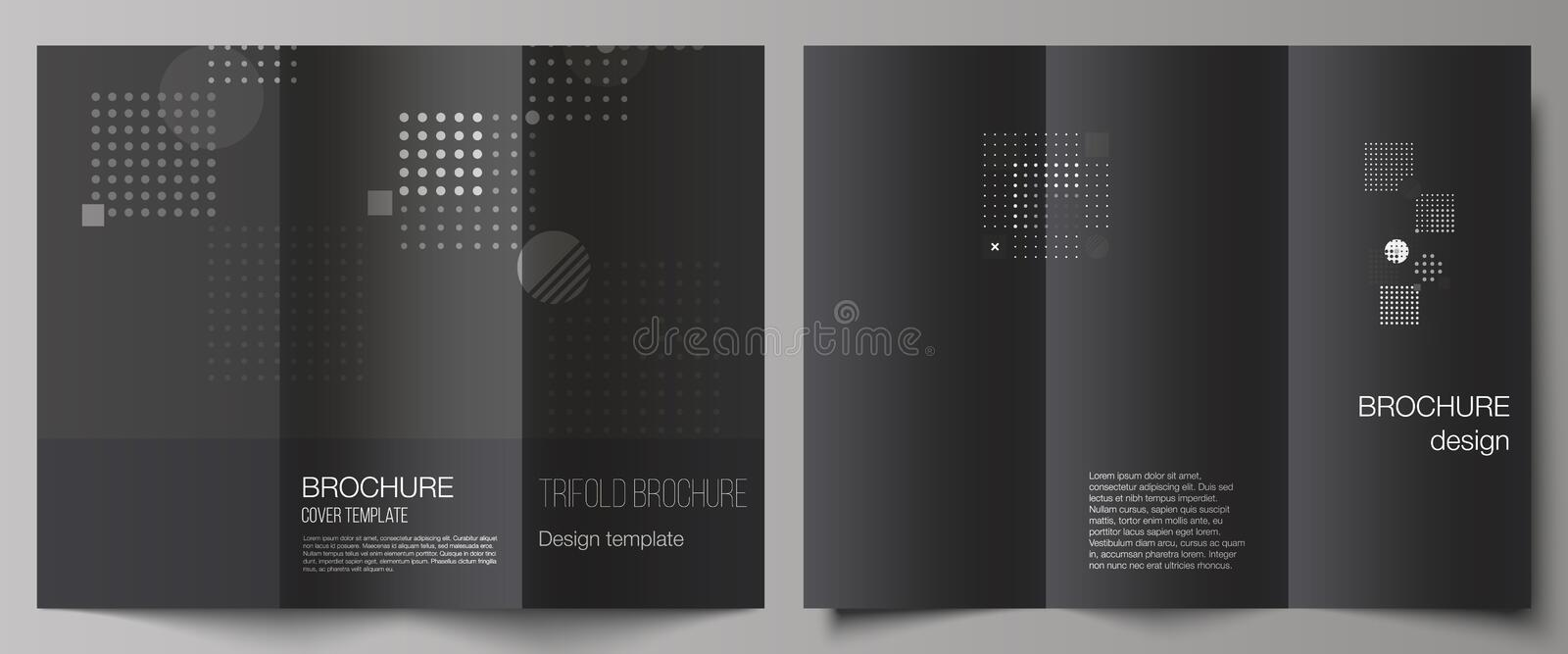 The minimal vector illustration of editable layouts. Modern creative covers design templates for trifold brochure or. Flyer. Abstract vector background with royalty free illustration