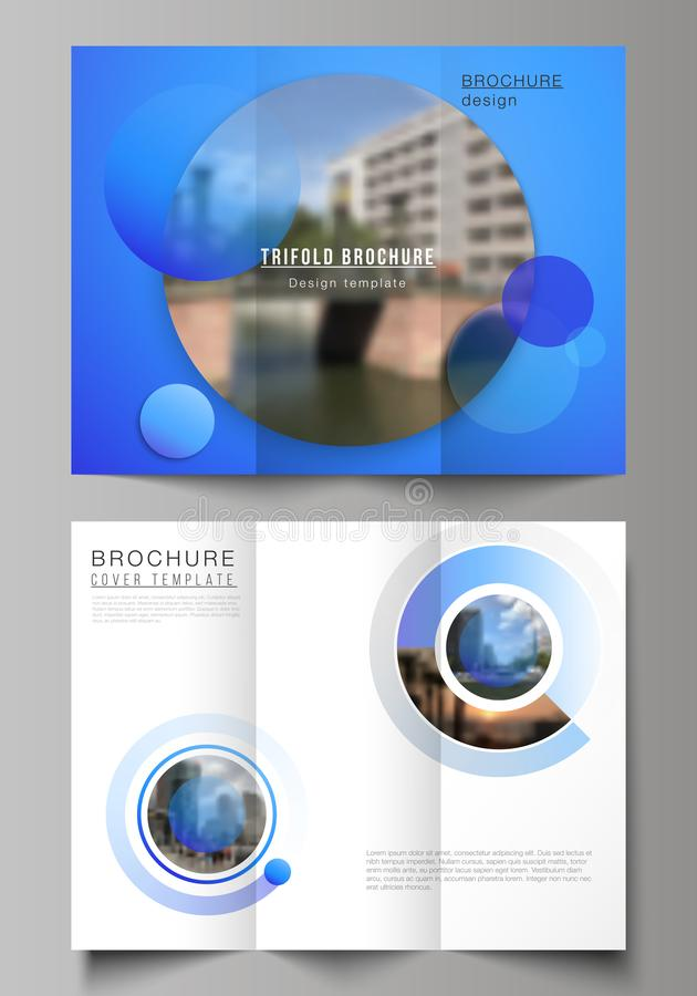 The minimal vector illustration of editable layouts. Modern creative covers design templates for trifold brochure or. Flyer. Creative modern blue background stock illustration