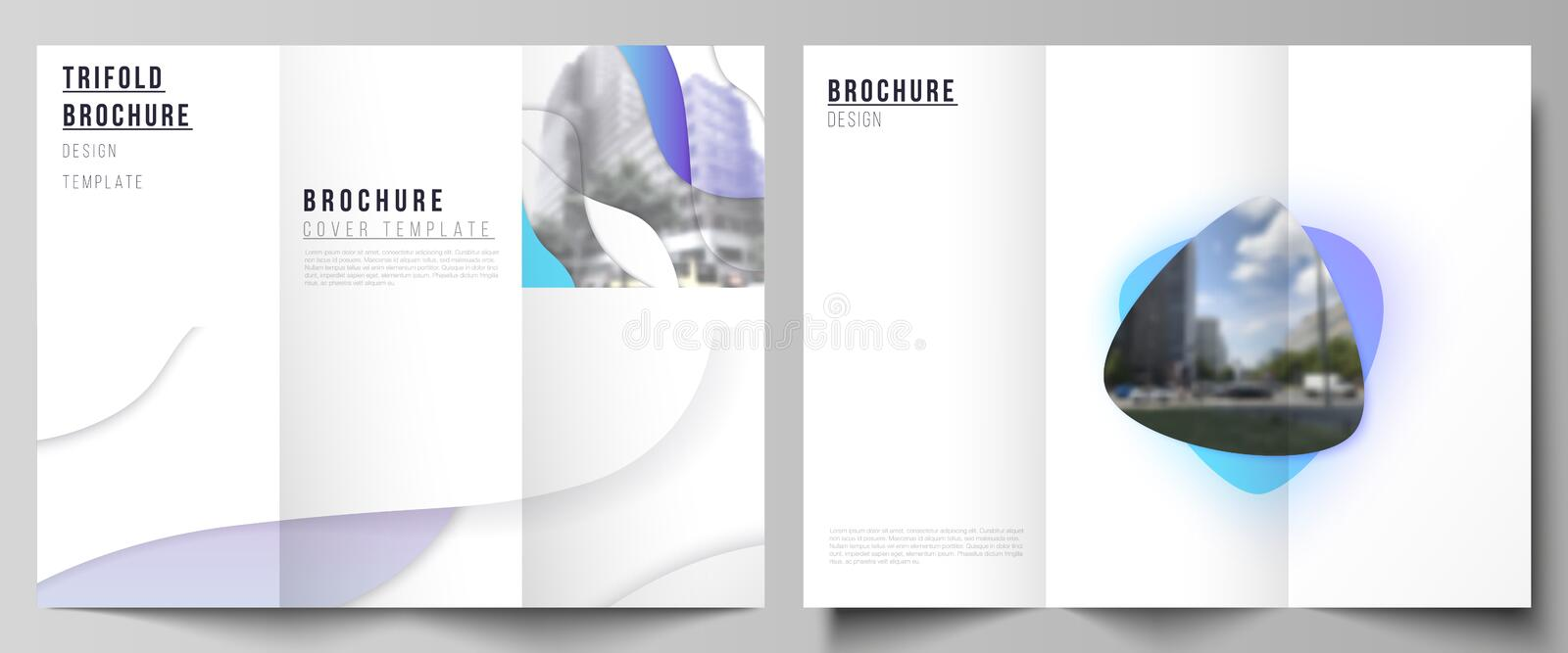 Minimal vector illustration of editable layouts. Modern creative covers design templates for trifold brochure or flyer. Blue color gradient abstract dynamic stock illustration