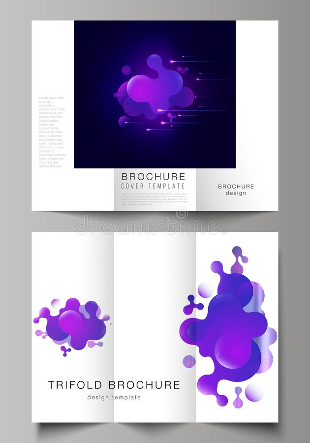 The minimal vector illustration of editable layouts. Modern creative covers design templates for trifold brochure or. Flyer. Black background with fluid stock illustration