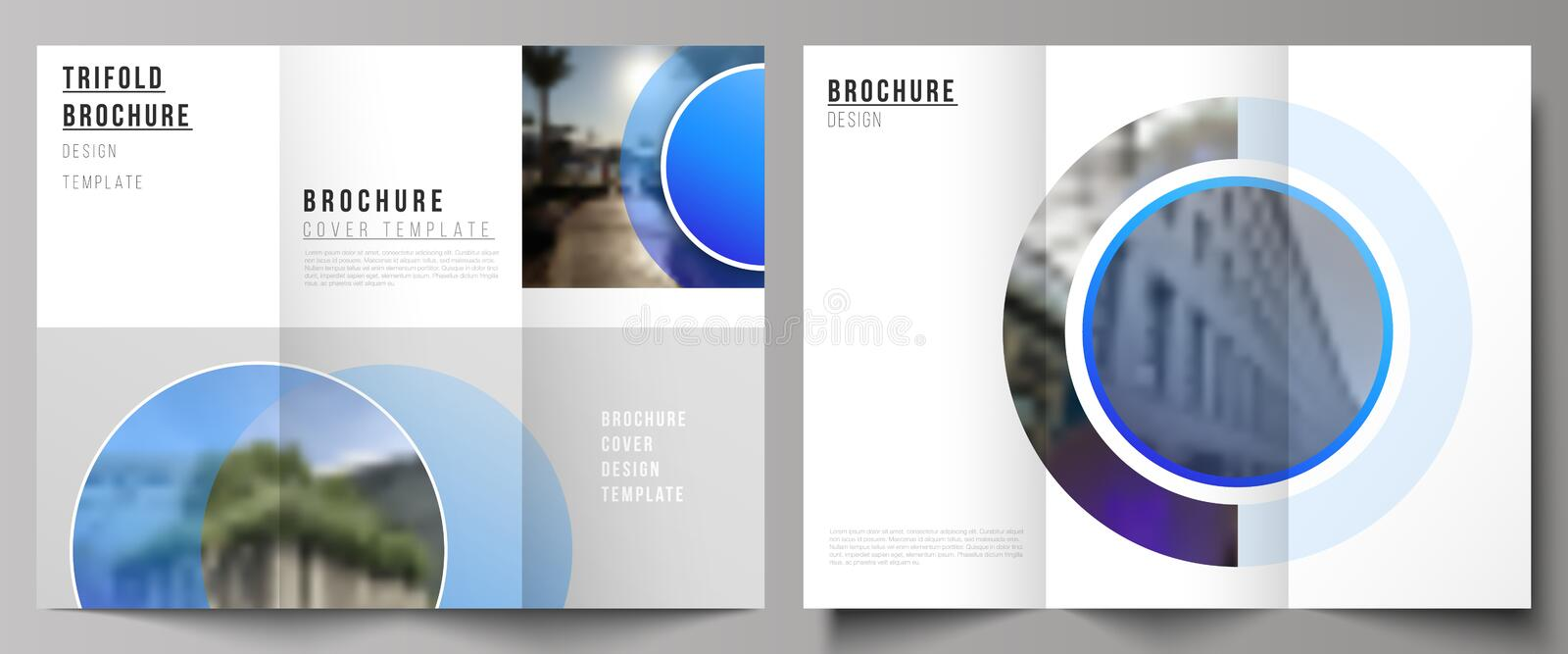 The minimal vector illustration of editable layouts. Modern creative covers design templates for trifold brochure or. Flyer. Creative modern blue background vector illustration