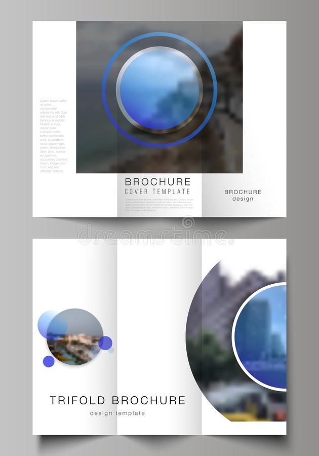 The minimal vector illustration of editable layouts. Modern creative covers design templates for trifold brochure or. Flyer. Creative modern blue background royalty free illustration