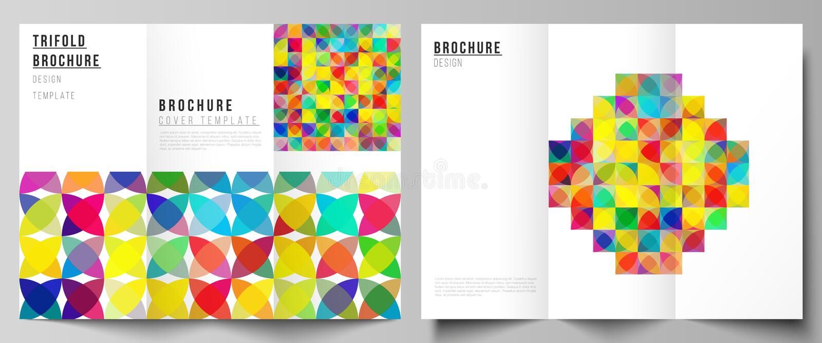The minimal vector illustration layouts. Modern creative covers design templates for trifold brochure or flyer. Abstract. Background, geometric mosaic pattern royalty free illustration