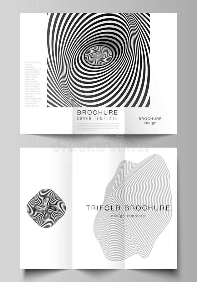 The minimal vector illustration layouts. Modern creative covers design templates for trifold brochure or flyer. Abstract. 3D geometrical background with optical vector illustration