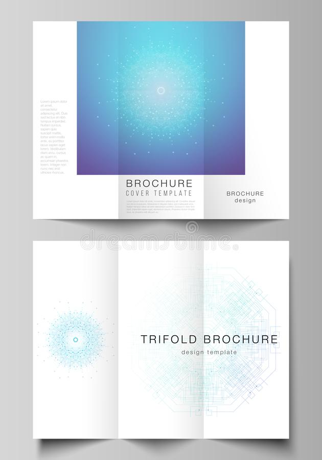 The minimal vector illustration layouts. Modern creative covers design templates for trifold brochure or flyer. Big Data. Visualization, geometric communication royalty free illustration