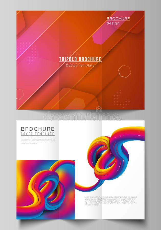 Minimal vector illustration layouts. Modern creative covers design templates for trifold brochure or flyer. Futuristic. Minimal vector illustration olayouts royalty free illustration