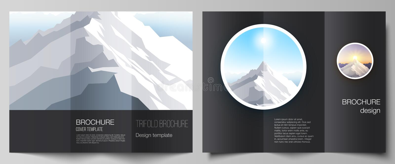 The minimal vector illustration layouts. Modern creative covers design templates for trifold brochure or flyer. Mountain. Illustration, outdoor adventure stock illustration