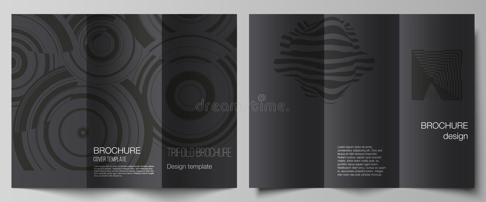 The minimal vector illustration layouts. Modern creative covers design templates for trifold brochure or flyer. Trendy. Geometric abstract background in royalty free illustration