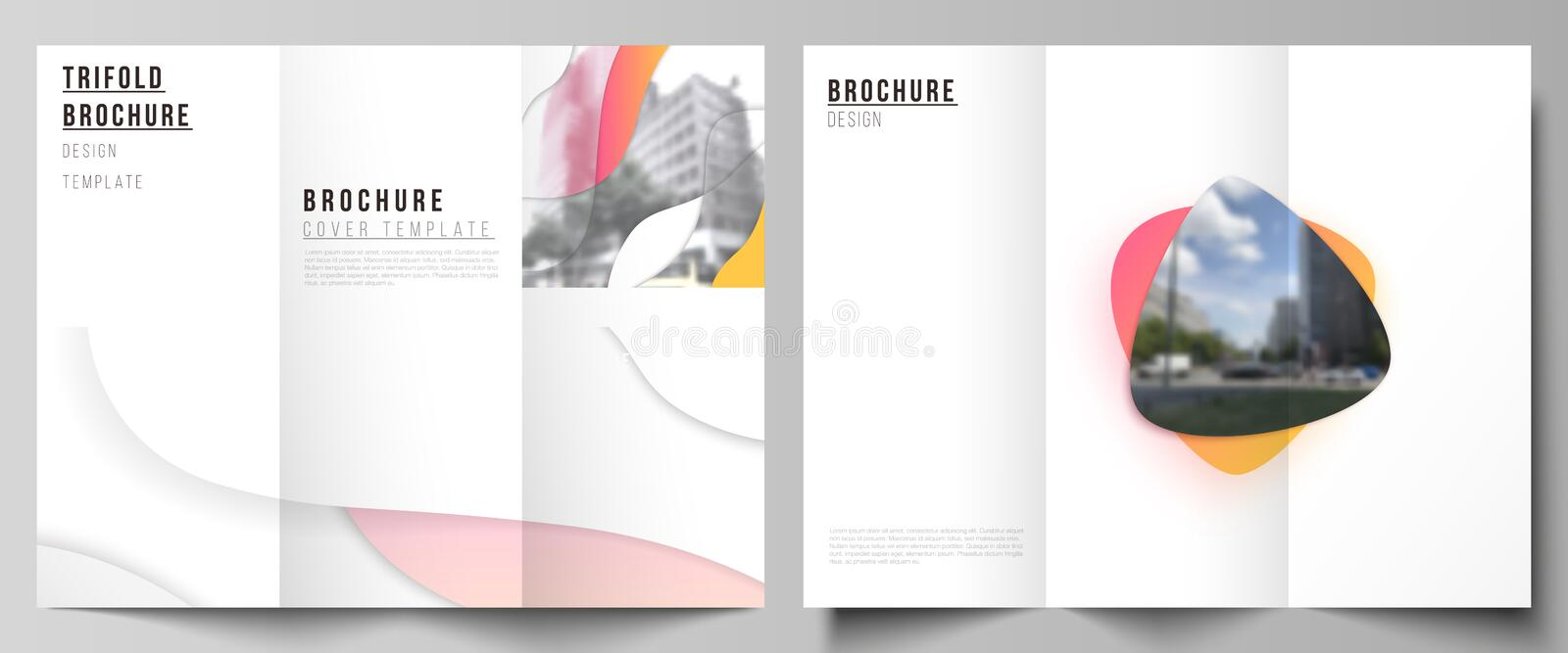 The minimal vector illustration layouts. Modern creative covers design templates for trifold brochure or flyer. Yellow. Color gradient abstract dynamic shapes stock illustration