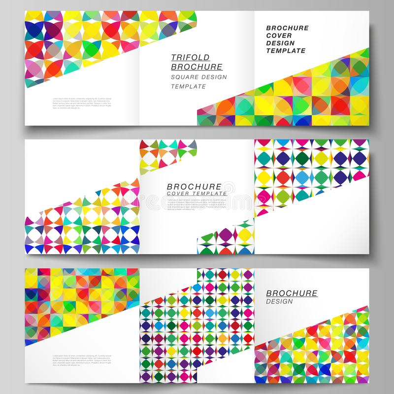 The minimal vector layout of square format covers design templates for trifold brochure, flyer, magazine. Abstract. Background, geometric mosaic pattern with stock illustration