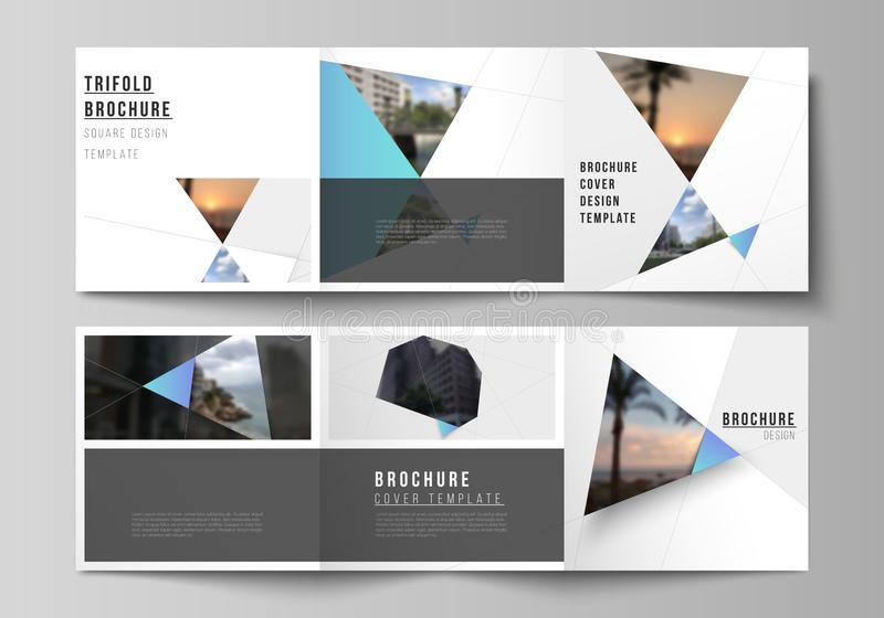 The minimal vector layout of square format covers design templates for trifold brochure, flyer, magazine. Creative. Modern background with blue triangles and royalty free illustration