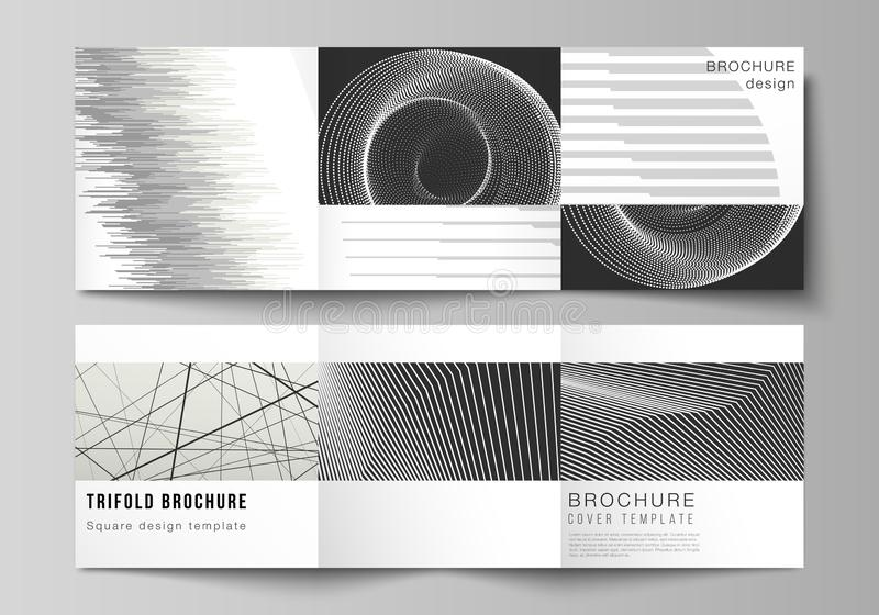 Vector layout of square format covers design templates for trifold brochure, flyer, magazine. Geometric abstract. Minimal vector layout of square format covers royalty free illustration