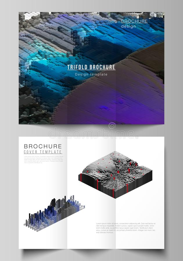 The minimal vector layouts. Modern creative covers design templates for trifold brochure or flyer. Big data. Dynamic. Geometric background. Cubes pattern design royalty free illustration