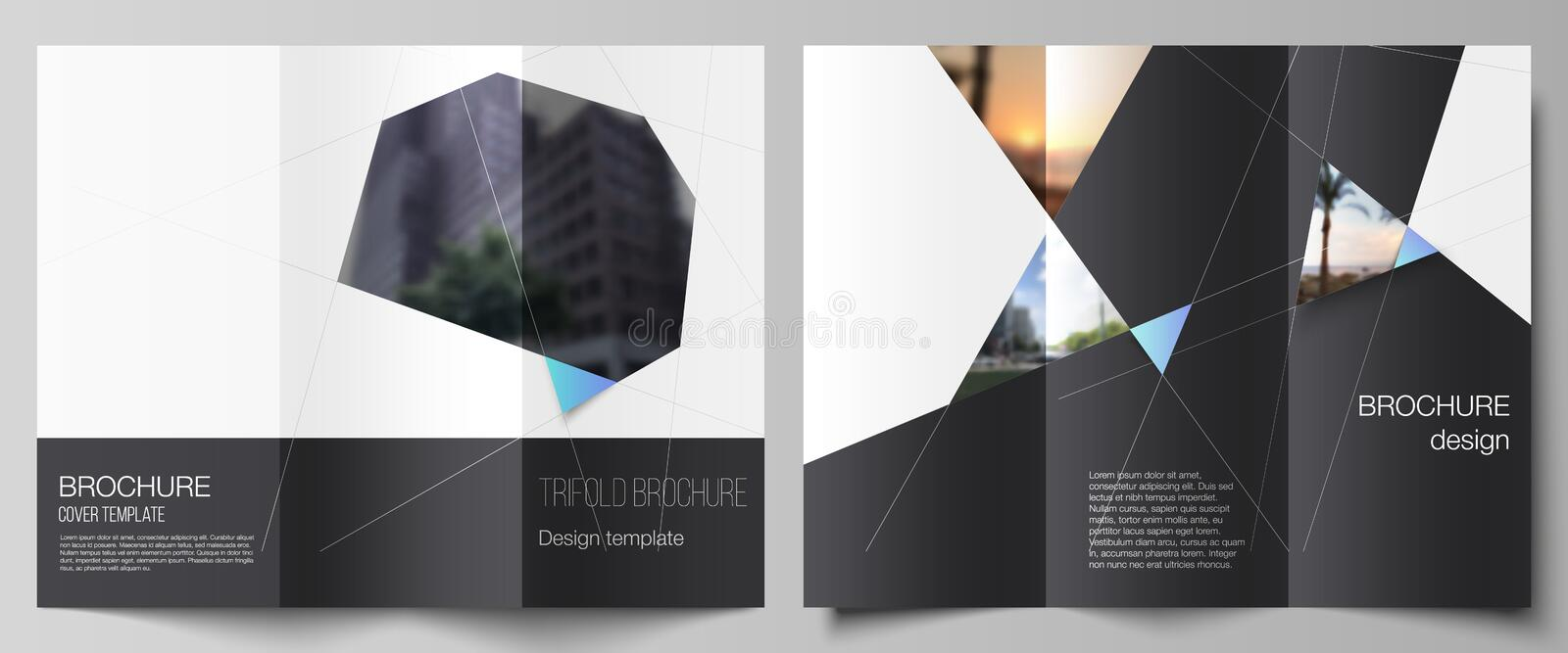 The minimal vector layouts. Modern creative covers design templates for trifold brochure or flyer. Creative modern. Background with blue triangles and stock illustration