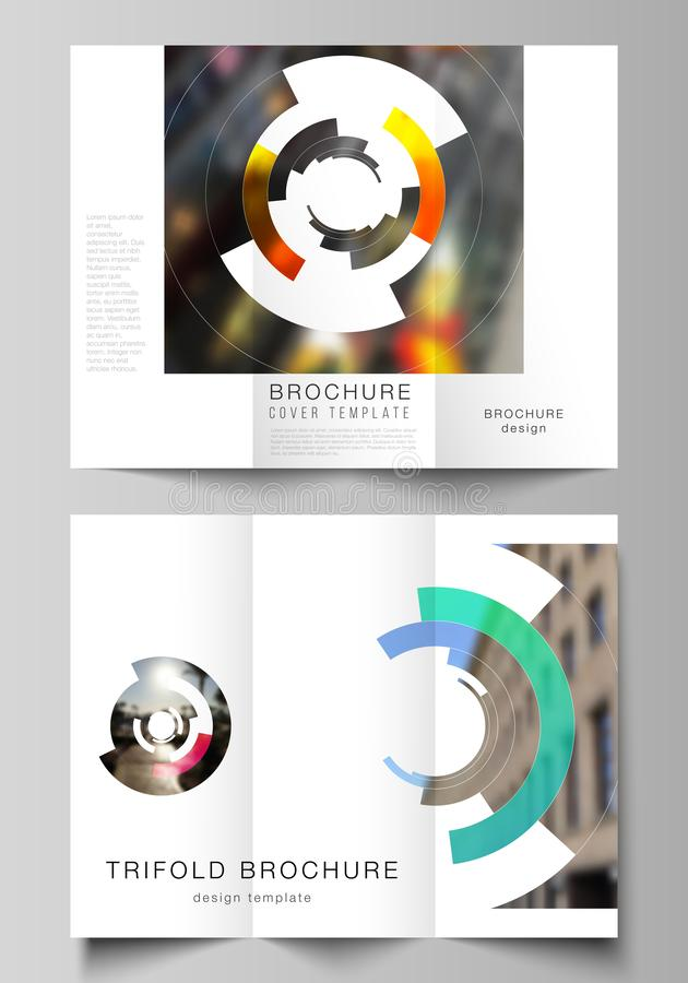 The minimal vector layouts. Modern creative covers design templates for trifold brochure or flyer. Futuristic design stock illustration