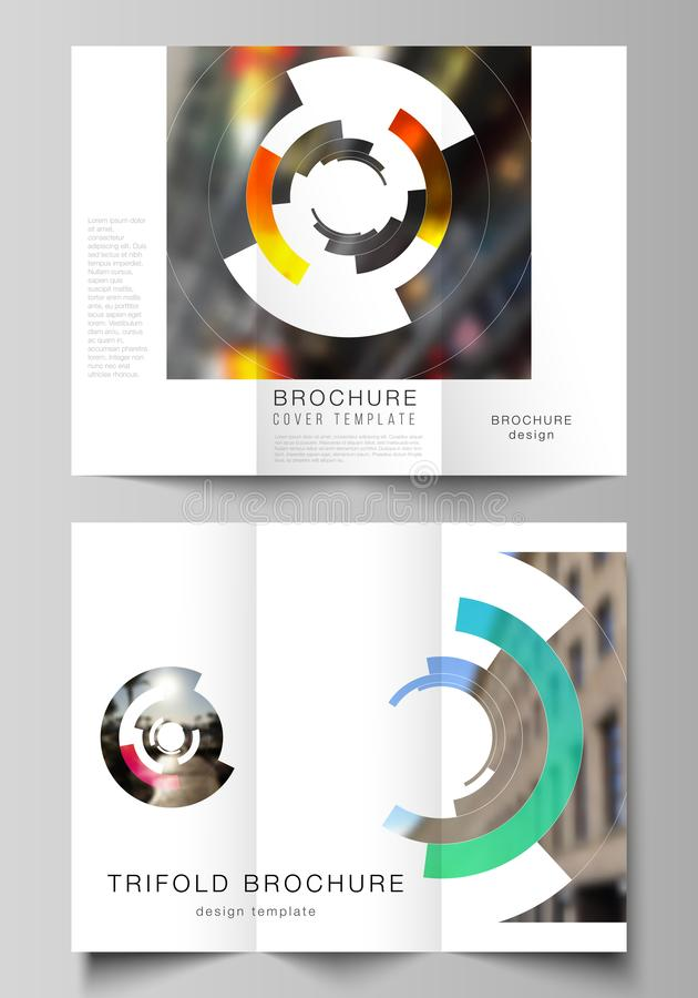 The minimal vector layouts. Modern creative covers design templates for trifold brochure or flyer. Futuristic design. Circular pattern, circle elements forming vector illustration