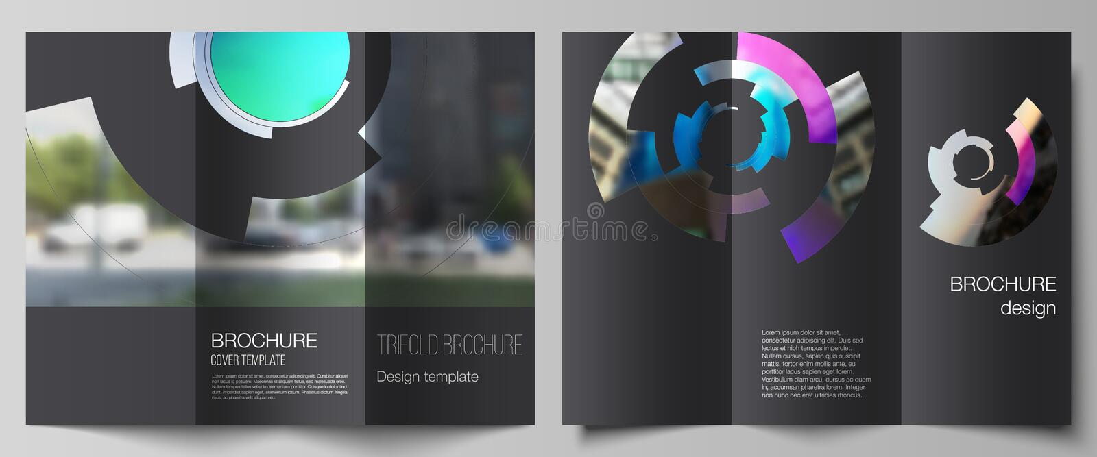 The minimal vector layouts. Modern creative covers design templates for trifold brochure or flyer. Futuristic design. Circular pattern, circle elements forming stock illustration