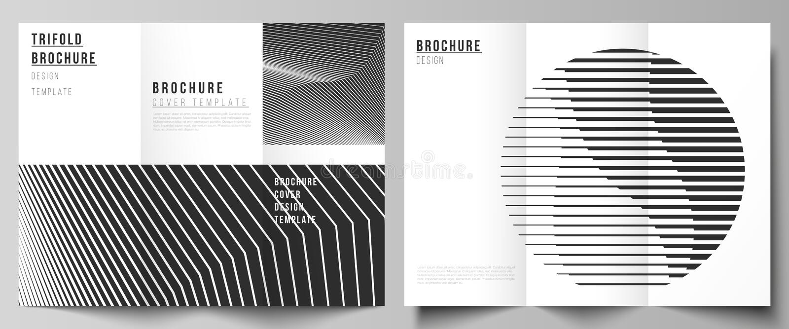 The minimal vector layouts. Modern creative covers design templates for trifold brochure or flyer. Geometric abstract. Background, futuristic science and royalty free illustration