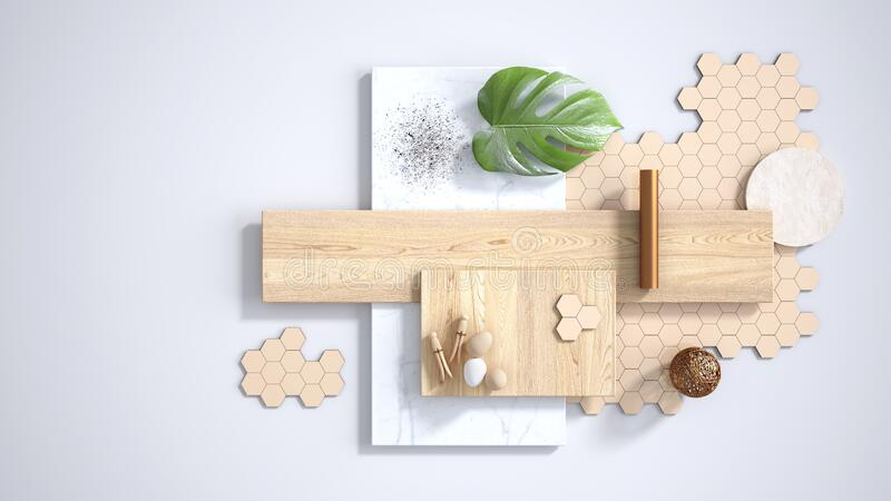 Minimal white background with copy space, marble slab, wooden planks, cutting board, mosaic tiles, monstera leaf, eggs, pins and. Decors. Kitchen interior vector illustration