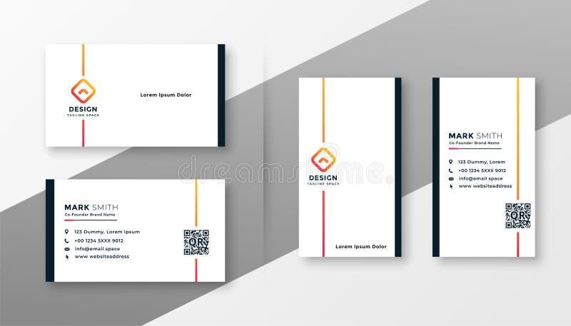 Minimal white business card template set stock illustration
