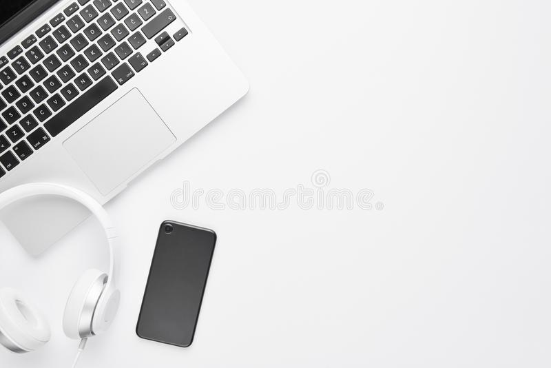 Minimal work space concept. stock photos