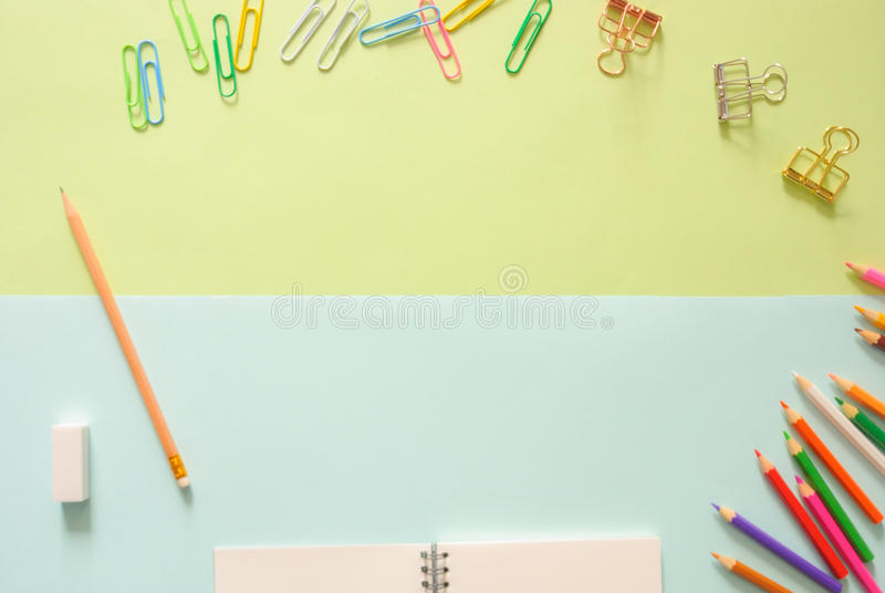 Minimal work space - Creative flat lay photo of workspace desk with sketchbook and wooden pencil on copy space background. royalty free stock photos