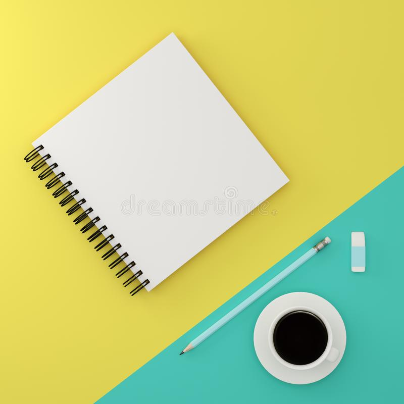 Minimal work space flat lay : top view of notepad, pencil, coffee cup, rubber on green and yellow pastel background, flat lay stock photo