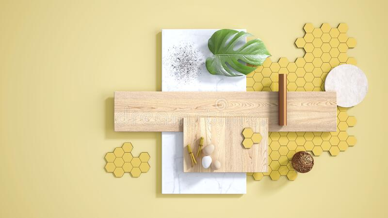 Minimal yellow background with copy space, marble slab, wooden planks, cutting board, mosaic tiles, monstera leaf, eggs, pins and. Decors. Kitchen interior royalty free illustration