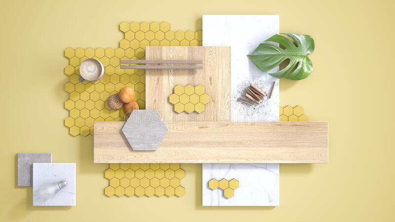 Minimal yellow background, copy space, marble slab, wooden planks, cutting board, mosaic tiles, plant leaf, cappuccino, cookies,. Cinnamon. Kitchen interior stock illustration