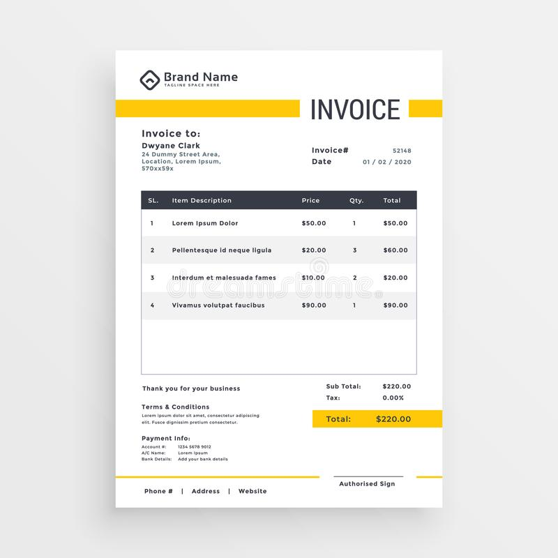 Minimal yellow invoice template vector design vector illustration