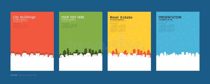 Minimale Abdeckungen entwerfen Satz, Stadtgebäude und Immobilienkonzept, Vector modernen Hintergrund lizenzfreie abbildung