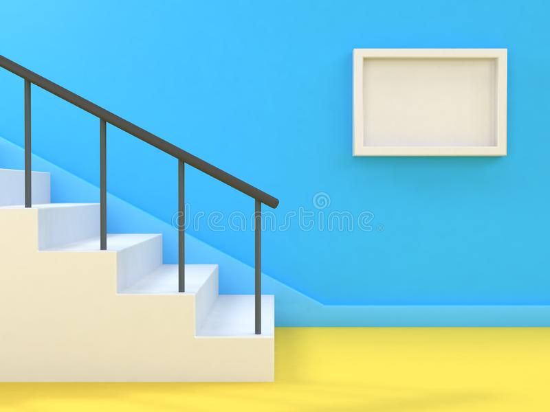 Minimale abstracte achtergrond geeft het trap-trap lege witte 3d kader blauwe muur terug royalty-vrije stock afbeeldingen