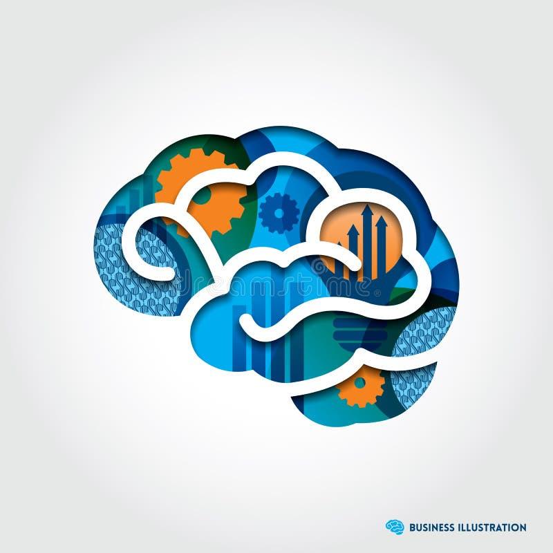 Minimale Art Brain Illustration mit Geschäfts-Betrug stock abbildung