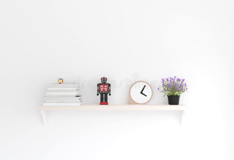 minimale Art der Wiedergabe 3D, hölzernes Regal und weiße Wand lizenzfreie abbildung