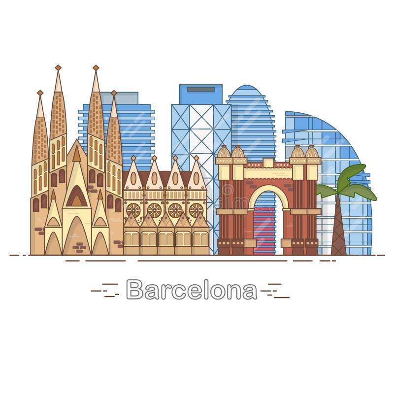 Minimale Barcelona-Stadt-lineare Skyline - umreißen Sie die Stadtgebäude, linear, Reise lizenzfreie abbildung