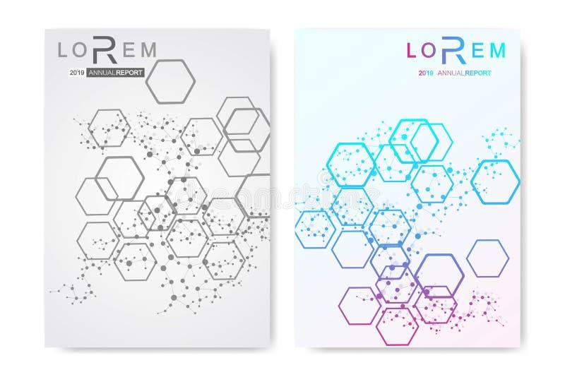 Minimale brochuremalplaatjes, tijdschrift, pamflet, vlieger, dekking, boekje, jaarverslag, banner Wetenschappelijk concept voor royalty-vrije illustratie