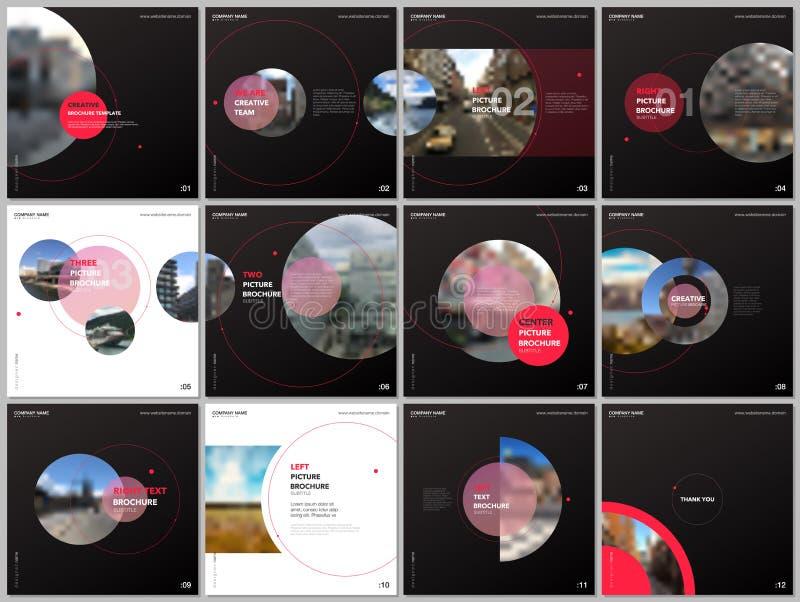 Minimale Broschürenschablonen mit rote Farbkreisen, runde Formen Abdeckungen entwerfen Schablonen für quadratischen Flieger, Bros lizenzfreie abbildung