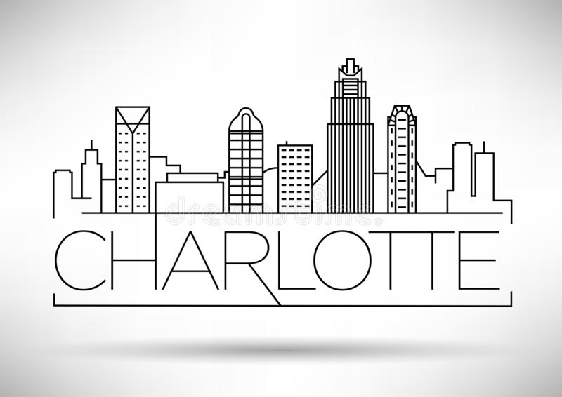 Minimale Charlotte Linear City Skyline mit typografischem Entwurf lizenzfreie abbildung